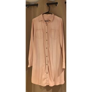 Light pink buttoned down t-shirt dress